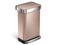 Poubelle rectangular Step Can 45L Or rose, Simplehuman