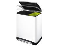 Eko poubelle e-cube à pédale tri sélectif 28+18L blanche