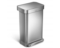 Poubelle rectangular step can acier inoxydable 45 litres, Simplehuman