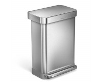 Poubelle rectangular step can acier inoxydable 55 litres, Simplehuman