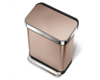Poubelle rectangular step can acier inoxydable or rose 55 litres, Simplehuman