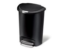 Poubelle Semi-Round Plastique à pédale 50L Noir, Simplehuman
