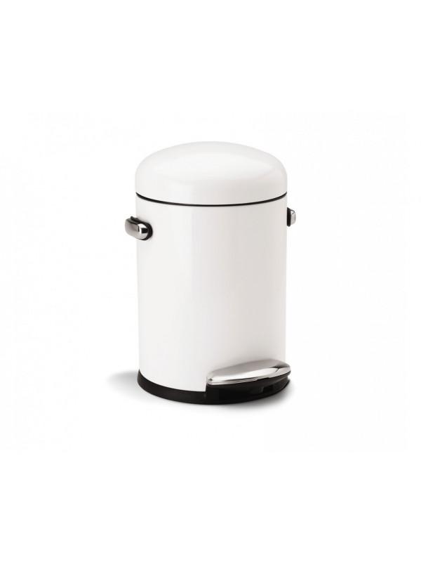 Poubelle rétro Simplehuman 4,5 litres à pédale blanc