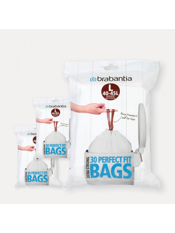 Sacs PERFECTFIT Code L (45 litres), 3 distributeurs, 90 sacs Brabantia