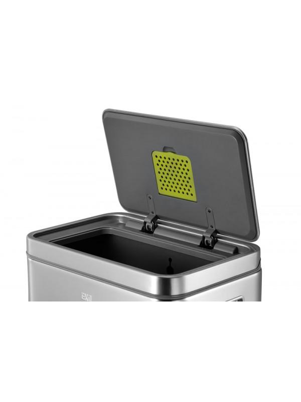 Poubelle X-Cube à pédale 30L Eko Inox mat filtre à odeurs