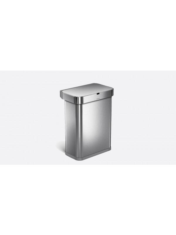 Poubelle en acier brossé à capteur détection vocale et mouvement, 58 litres simplehuman