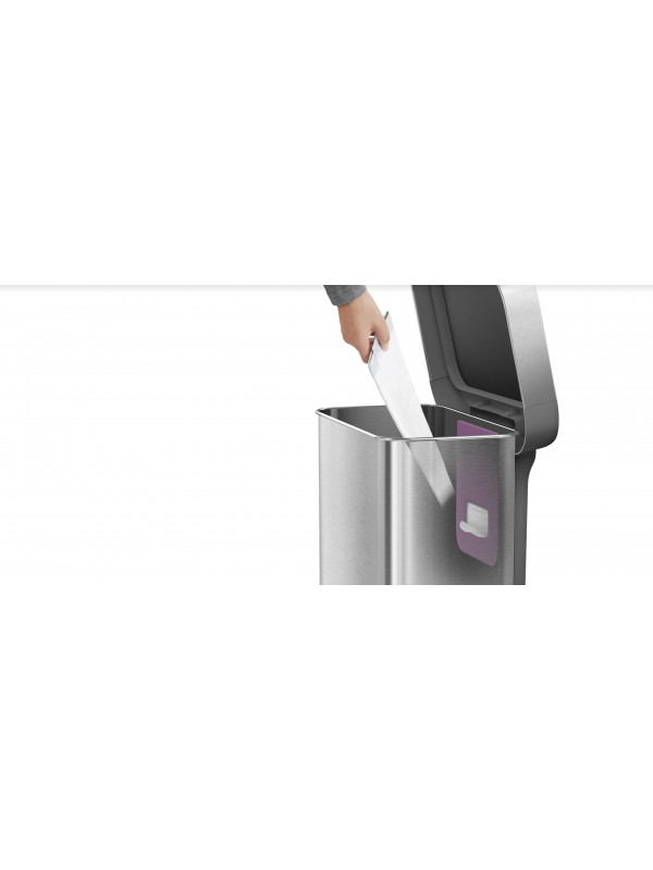 Poubelle rectangular step can acier inoxydable or rose 55 ...