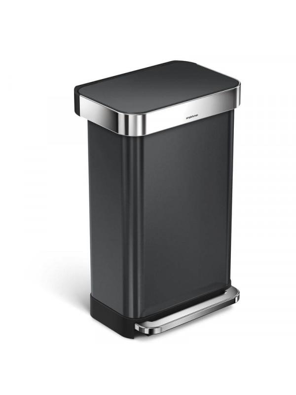Poubelle simplehuman 45L noire acier inoxydable