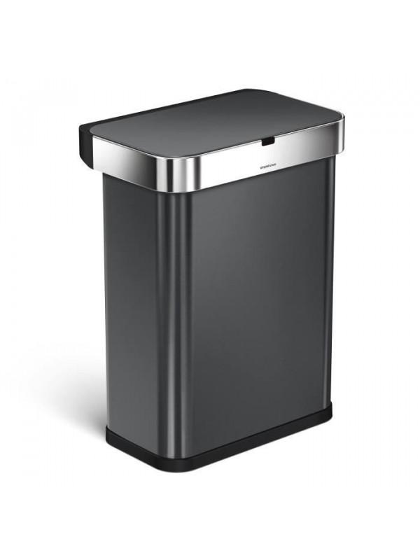 Poubelle rectangulaire 58L, à capteur avec détection vocale et de mouvement, en acier inoxydable noir, Simplehuman
